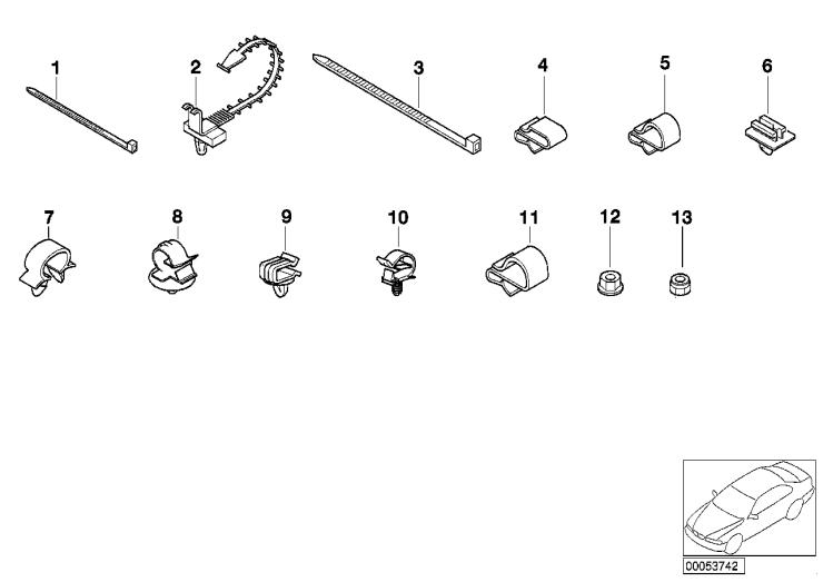 12_1054 Элементы крепления жгута проводов