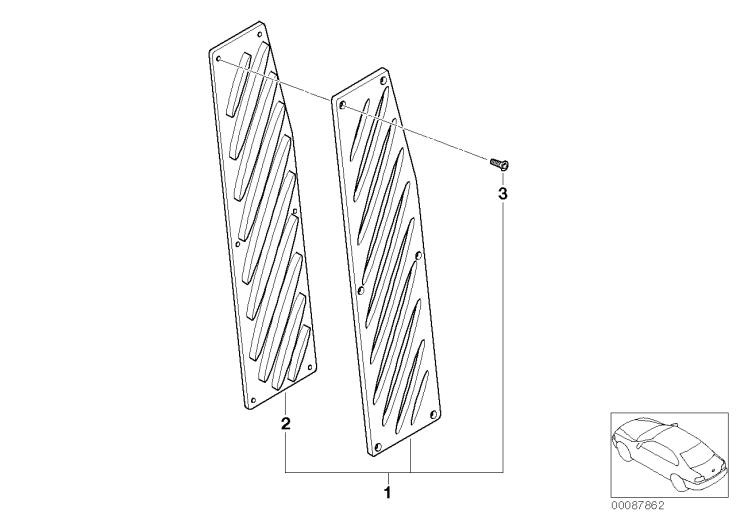 51_4694 Алюминиевая подставка для левой ноги