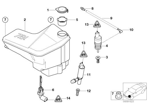 61_1325 Бачок системы омывателей фар