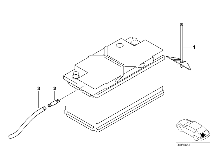 61_1361 Крепление батареи и дополнит. элементы