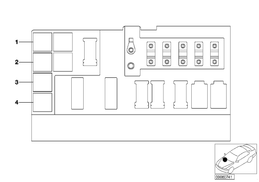 61_1363 Расположение реле за вещевым ящиком