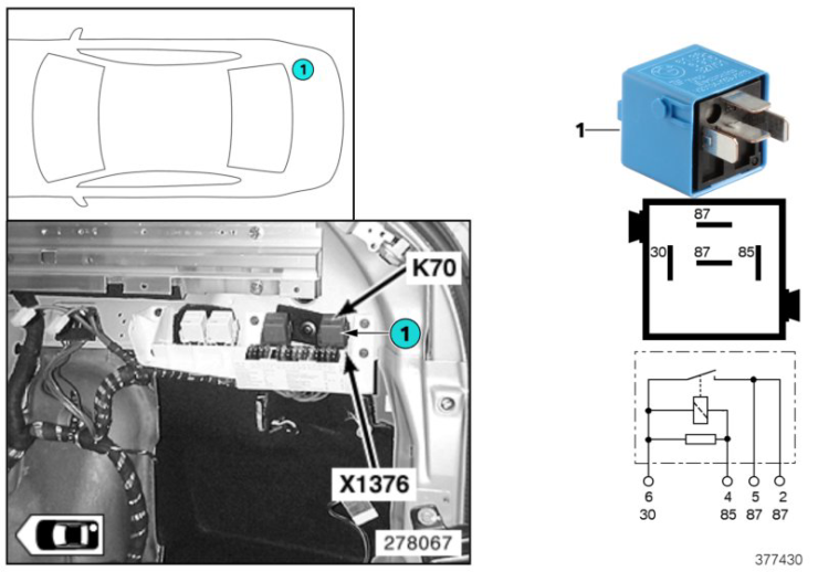 61_4061 Реле крышки багажника K70