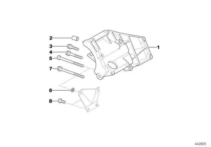 64_1381 Опорный кронштейн компрессора кондиц.