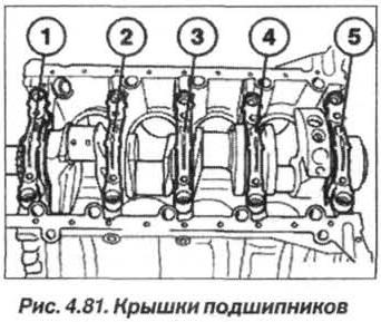 Рис. 4.81. Крышки подшипников БМВ Х5 Е53 М62