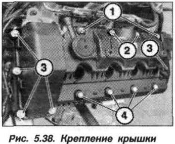 Рис. 5.38. Крепление крышки БМВ Х5 Е53 N62