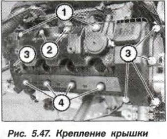 Рис. 5.47. Крепление крышки БМВ Х5 Е53 N62