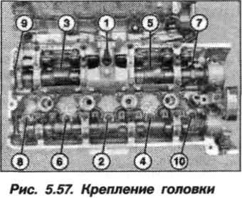 Рис. 5.57. Крепление головки БМВ Х5 Е53 N62