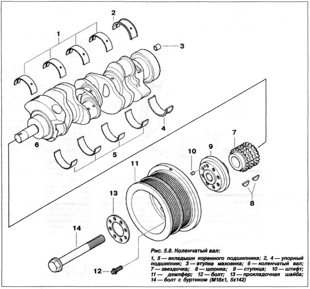 Рис. 5.8. Коленчатый вал БМВ Х5 Е53 N62