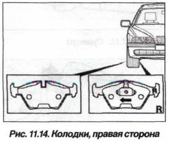 Рис. 11.14. Колодки, правая сторона БМВ Х5 Е53