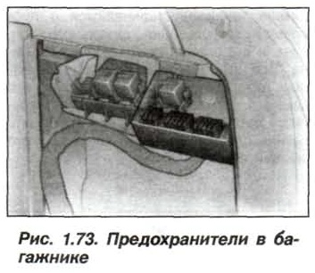 Рис. 1.73.Предохранители в багажнике БМВ Х5 Е53