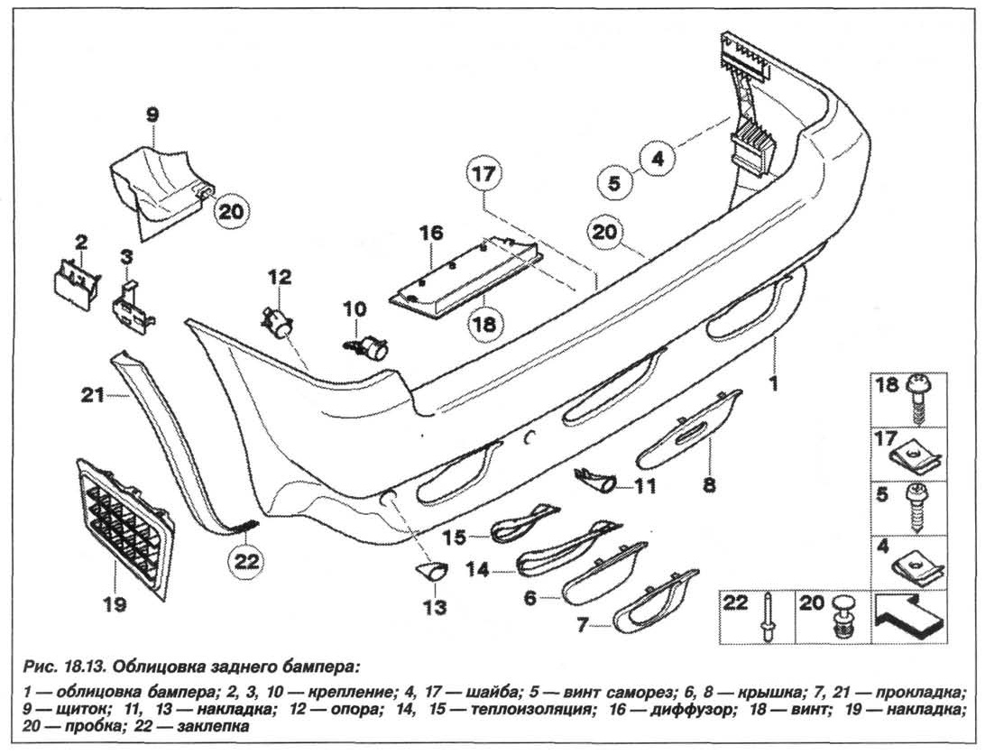 Рис. 18.13. Облицовка заднего бампера БМВ X5 E53