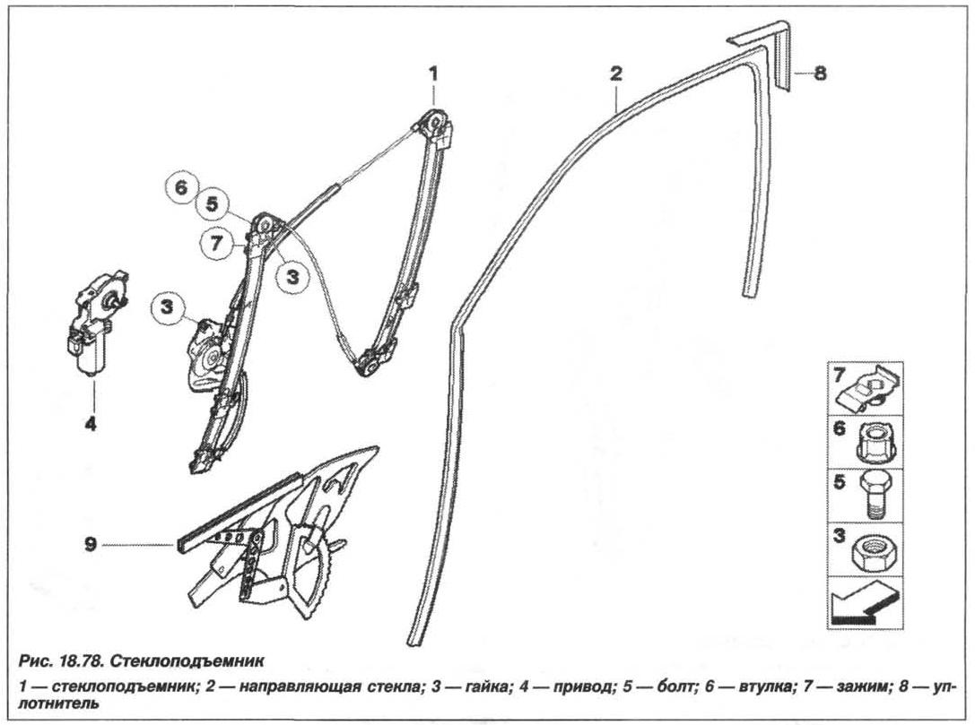 Рис. 18.78. Стеклоподъемник БМВ X5 E53